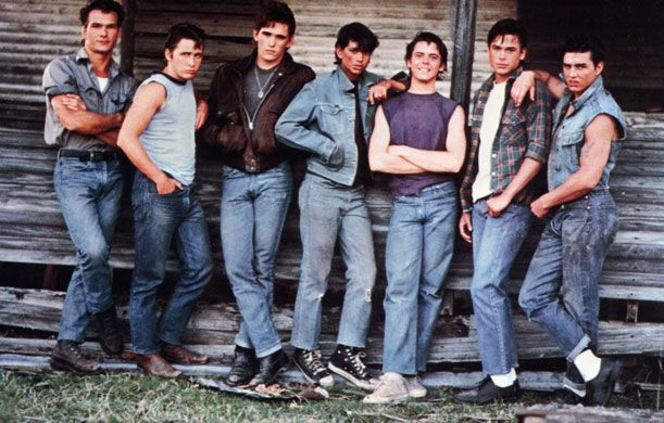 The Outsiders (cast L to R: Patrick Swayze, Emilio Estevez, Matt Dillion, Ralph Macchio, C. Thomas Howell, Rob Lowe and Tom Cruise