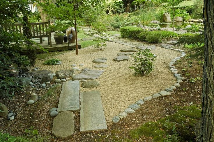 Seperating mulch and pathways outdoor favs pinterest for Pebbles in backyard