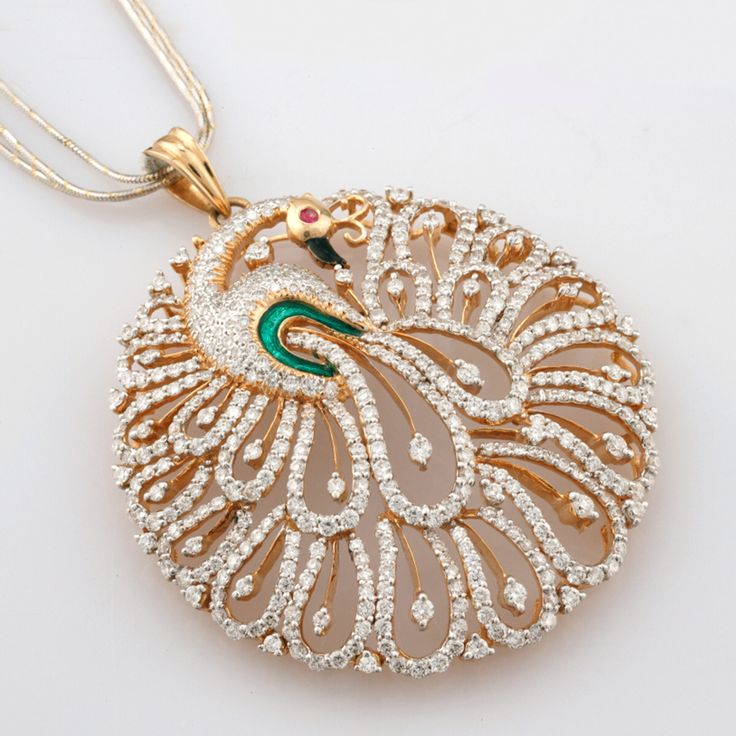Beautiful peacock diamond pendant