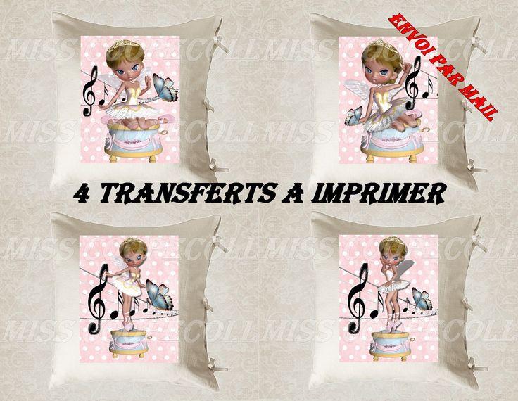 """4 images digitales pour transfert à imprimer """"miss boite à musique"""" envoi par mail : Loisirs créatifs, scrapbooking par miss-coopecoll"""