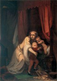 """Francisco Metrass (1825 - 1861), """"Inês de Castro pressentindo os assassinos"""" (1855)"""