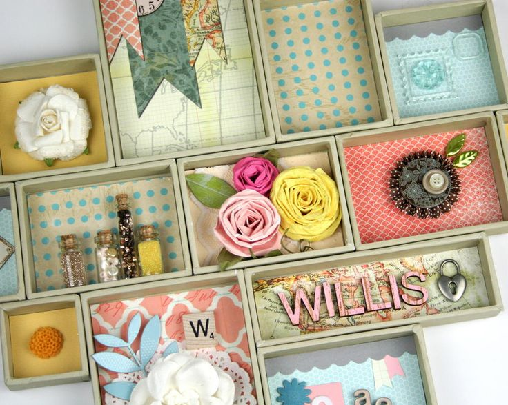 Use your skills to create a beautiful Mini Canvases Family Shadow Box.