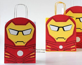 Ironman goody bags Superhero Ironman decorations for Super hero birthday party favors Superhero birthday party decorations Treat bags Boxes