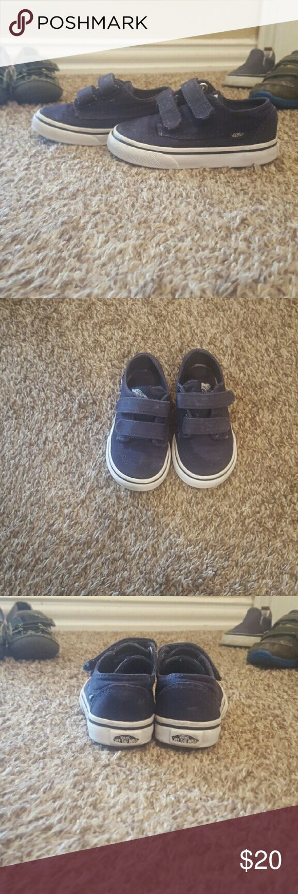 Navy Vans Navy blue velcro Vans, size 5.5 (fits like 5). Good used condition. Vans Shoes