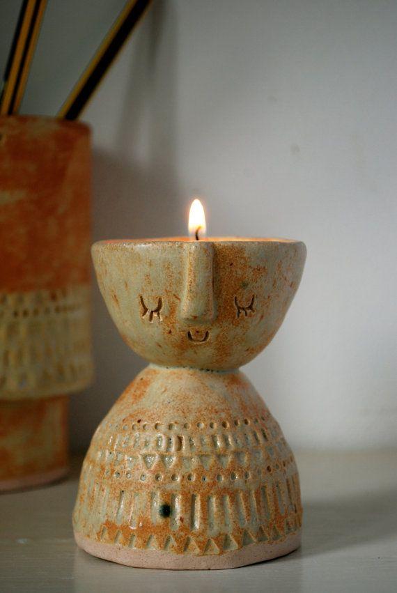 Little lady ceramic candle holder or vase