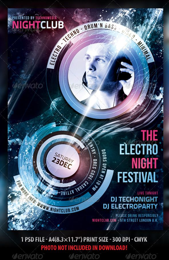 "Minimal / Electro Flyer / Poster  #GraphicRiver          Minimal / Electro Festival, Party Flyer / Poster  	 The PSD file is setup at A4(8.3×11.7"") with .25"" bleeds CMYK 300DPI – PRINT READY Very well organised file Everything layered and editable Photos not included in download  Fonts:   Bebas neue (Free Font):  .dafont /bebas-neue.font/  Titillium (Free font):  .fontsquirrel /fonts/TitilliumTextTitillium      Created: 25July13 GraphicsFilesIncluded: PhotoshopPSD Layered: Yes…"
