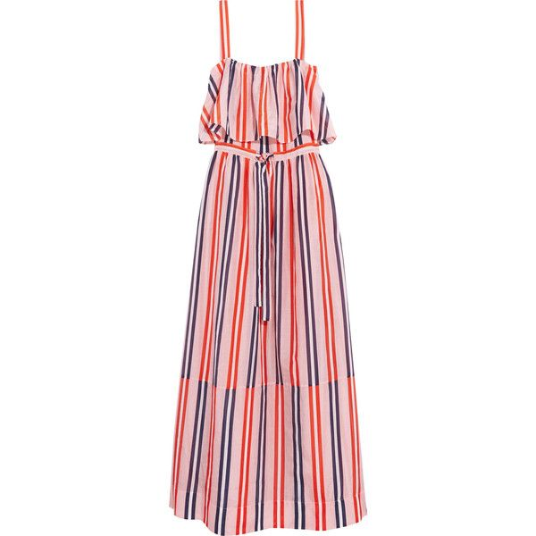 Diane von Furstenberg Striped cotton and silk-blend maxi dress ($290) ❤ liked on Polyvore featuring dresses, pastel pink, colorful dresses, maxi dresses, pink maxi dress, drawstring dress and stripe maxi dress