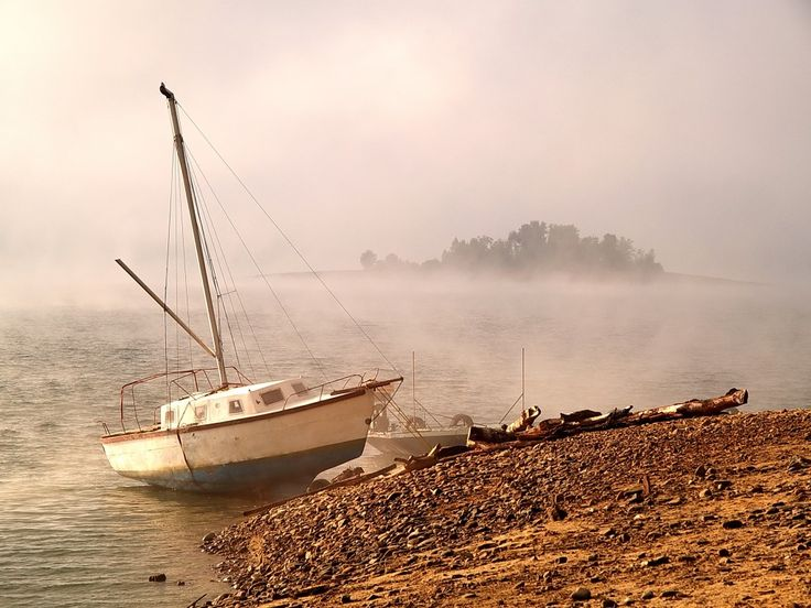 Lagoon on Solina Lake, Bieszczady region, morning fog, POLAND