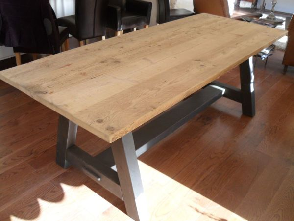 Quirky Pine And Painted Base 7 Foot Dining Table Antique All Our