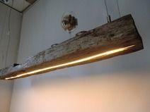 Hängelampe aus antiken Balken LEDs warmweiss
