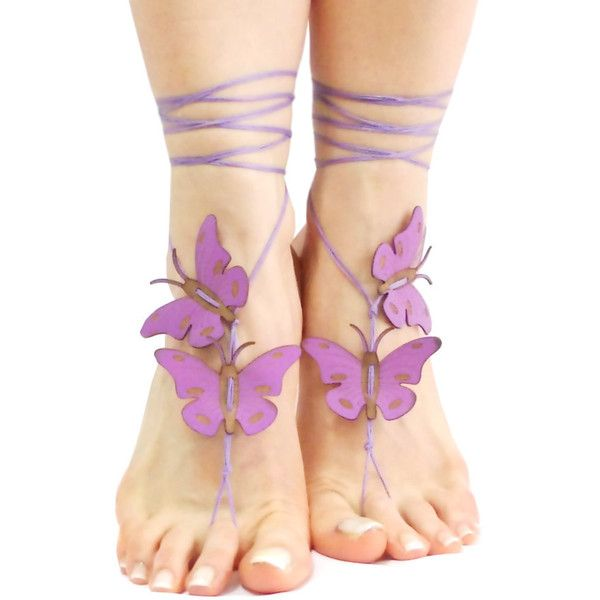 Lilac Purple Butterfly Barefoot Sandal, Yoga Belly Dance Beach... ❤ liked on Polyvore featuring shoes, sandals, violet shoes, butterfly sandals, purple sandals, yoga sandals and beach sandals