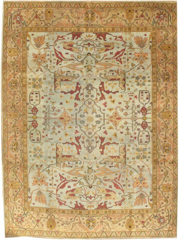 Turkish Oushak Hand Knotted Wool Light Blue Gold Area Rug Pasargad Specializes In Antique Persian European And Decorative C Braided Area Rugs Area Rugs Rugs