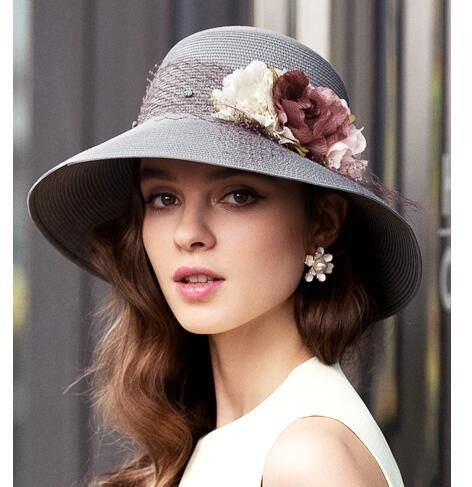 Mesh Flower Bowler Sun Hat For Lady Beach Summer Straw