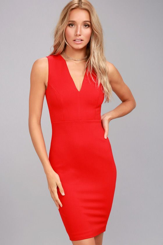 The perfect bodycon for every occasion has arrived in the form of the Quite Spectacular Red Bodycon Dress! Medium-weight stretch knit creates a polished look over a sleeveless bodice with curving V-neck and princess seams. Bodycon skirt is finished with a kick pleat and exposed gold back zipper. #bodycondresshomecoming