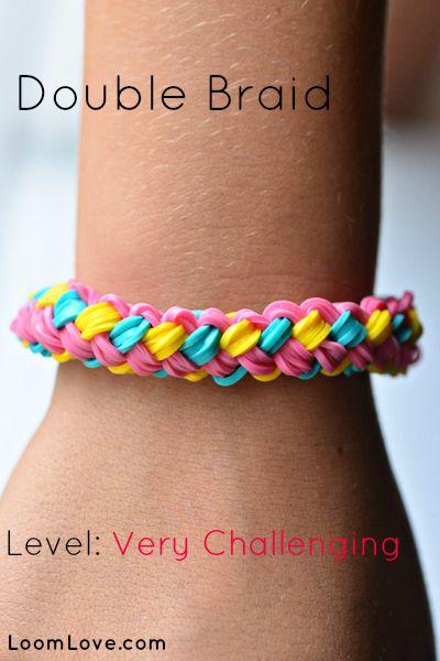 How to Make a Double Braid Bracelet - Rainbow Loom video tutorial