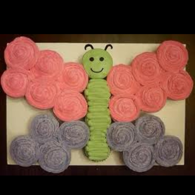 Butterfly Cupcake Cake....I want to do this for Makenzie's 1st birthday! Different colors though!  So cute