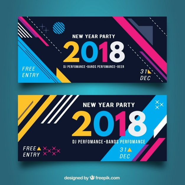 Abstract Shapes Banners Free Vector Banner Design Inspiration Banner Design Layout Banner Ads Design