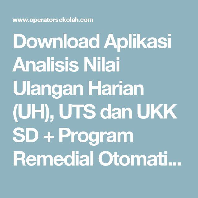 Download Aplikasi Analisis Nilai Ulangan Harian (UH), UTS dan UKK SD + Program Remedial Otomatis Format Excel | Operator Sekolah