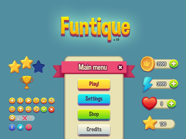This is a vibrant and cartoonish game UI Kit has over 30 elements that are retina ready. #game #ui #cartoon