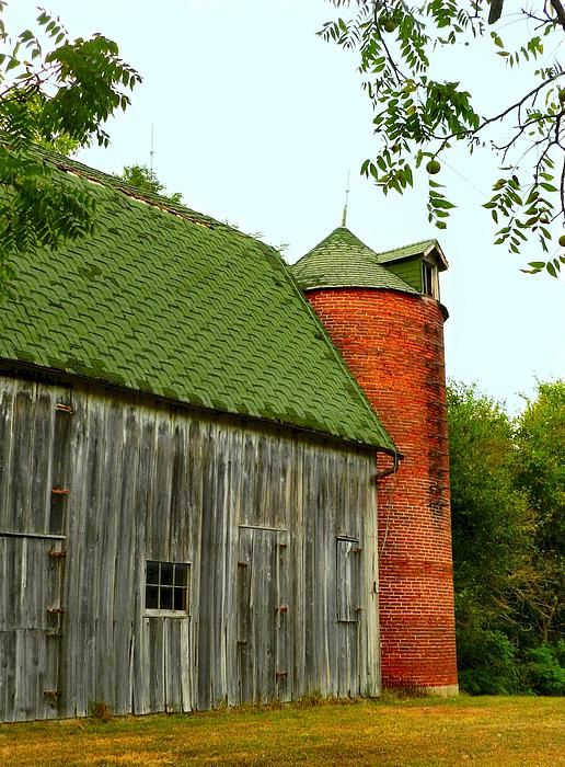 Old barn with brick silo. Reminds me of the old silo growing up!