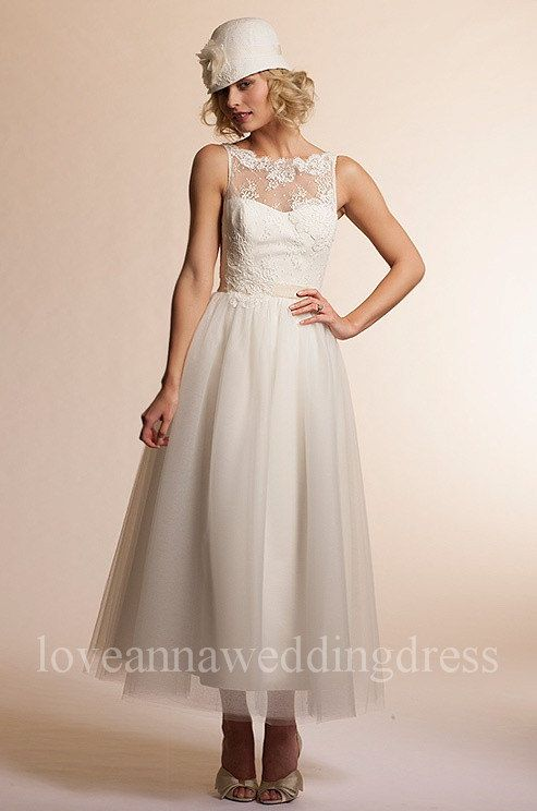 Vintage sleeveless ankle length lace and by Loveannaweddingdress, $257.00
