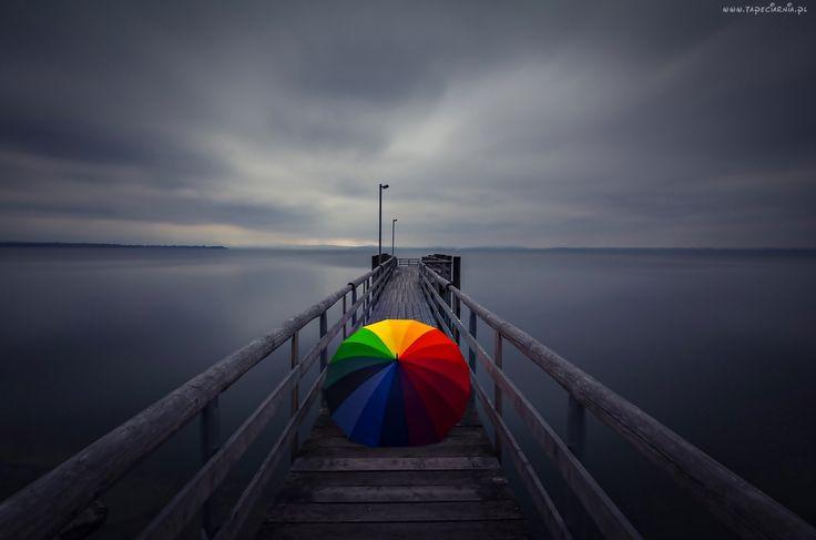 Molo, Parasol, Morze, Zmierzch