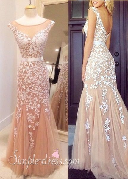prom dresses, 2016 prom dresses, mermaid prom dresses, champagne prom dresses, peach prom dresses, tulle prom dress with white applique, hot selling prom dress, beautiful prom dress, US prom dress, grad dress, graduation dress, senior prom dress, party dress, evening dress