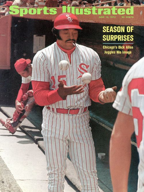 Dick Allen on the Sports Illustrated cover juggling and smoking a cigarette in the White Sox dugout. June 12th 1972.