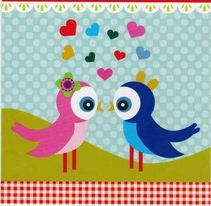 Linnut ja sydämet (15x15cm) 1.80€