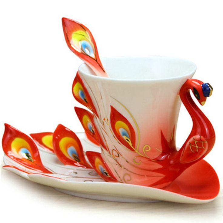 1 stuk pauw cup mokken keramische porseleinemail paar kopjes bruiloft verjaardagscadeau creatieve theekop zes kleuren optionele(China (Mainland))