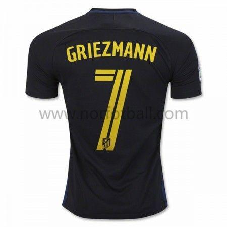 Billige Fotballdrakter Atletico Madrid 2016-17 Griezmann 7 Borte Draktsett Kortermet