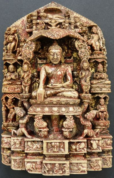 11th 13th Century Rare Burmese Andagu Stone Stele, finely carved, very rare. Height: 18cm x Width: 12cm x Depth varying up to 4cm. Weight 1 Kilo