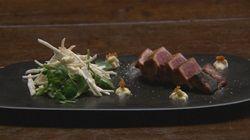 Smoked and Seared Tuna with Celeriac Remoulade and Horseradish Mayo
