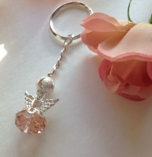 25 Pink Angel With Wings Keychain Rosary Baptism Communion Wedding Favors