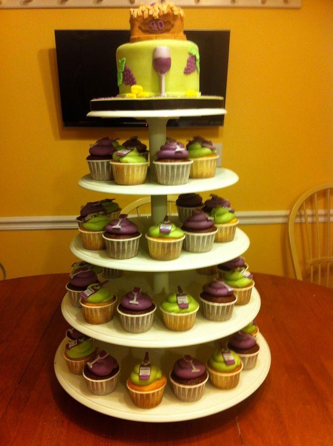 Wine theme cake and cupcake stand — Birthday Cakes