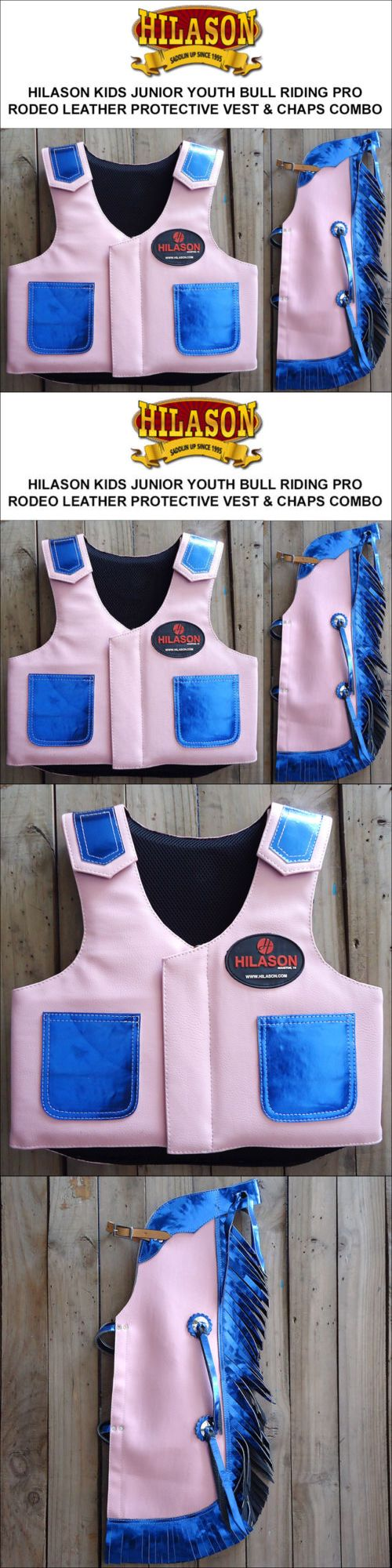 Other Protective Gear 87446: Hilason Kids Junior Youth Bull Riding Pro Rodeo Leather Protective Vest Chaps -> BUY IT NOW ONLY: $129.95 on eBay!
