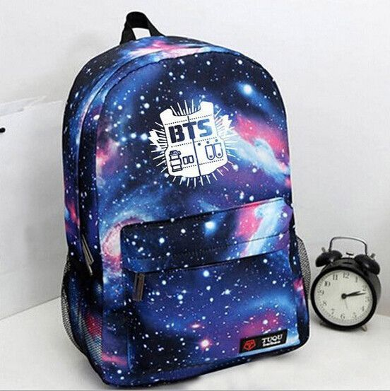 Kpop Korean Pop BTS Bangtan Boys Fire Nebula Cosmic Space Print Backpack bag school trendy