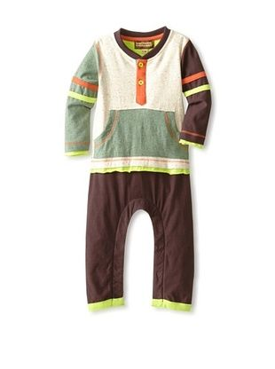 91% OFF Kartoons Kid's Color Block Long Sleeve Romper (Sage/Ecru/Brown)
