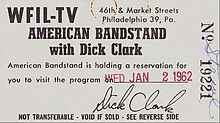 American Bandstand -ticket to the show.