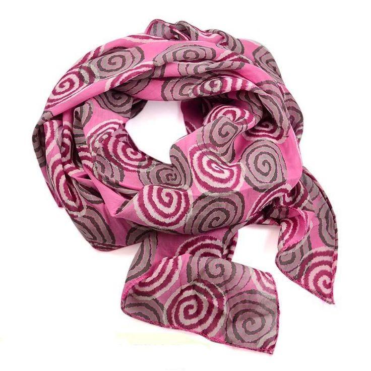 Šála bavlněná Carino 69ci006-23.71 - růžová s kruhy - Bijoux Me!