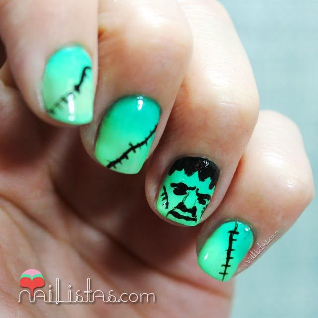 Frankenstein nails #Halloween #Nailart  Uñas decoradas con Frankenstein