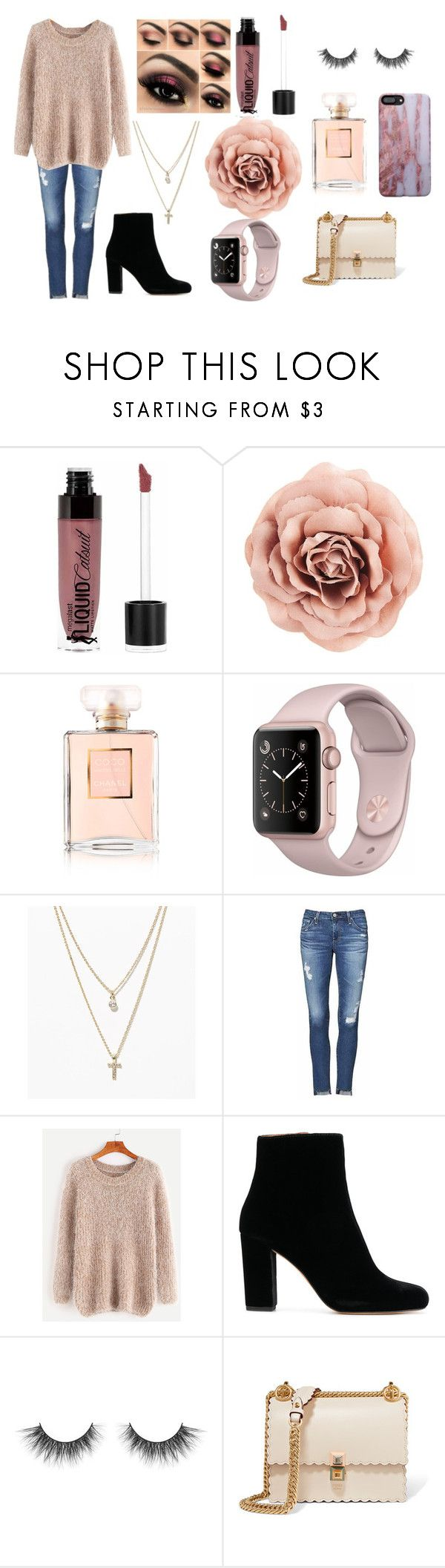 """""""pretty in pink"""" by kikiluv05 on Polyvore featuring Wet n Wild, Chanel, LOFT, AG Adriano Goldschmied and Fendi"""
