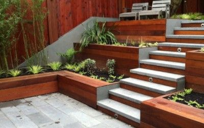 Granite Steps used in a backyard flowing onto #GranitePaving for a courtyard