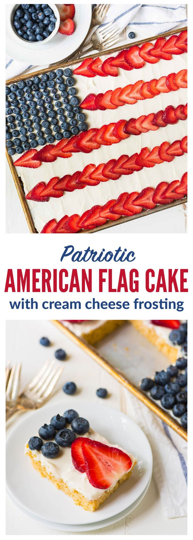 American Flag Cake. Made with REAL ingredients! From scratch fluffy yellow sheet cake, topped with Greek yogurt cream cheese frosting, fresh strawberry, and blueberry to look like an American flag. The perfect patriotic dessert recipe for the Fourth of July, Memorial Day, and Labor Day. Recipe at wellplated.com | @wellplated