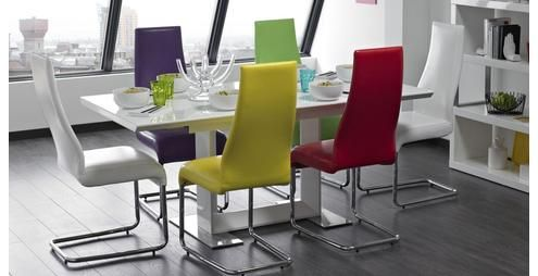 energise small extending table & set of 4 chairs white and chrome