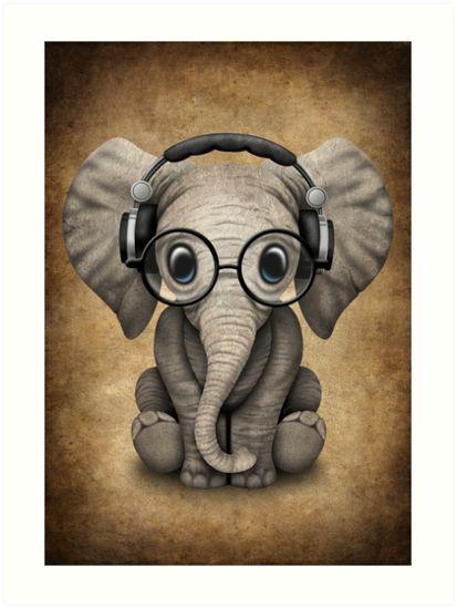 Объемных открыток, картинка прикольная слона в наушниках