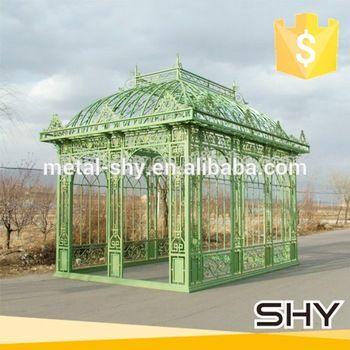 Outdoor garden iron pavilion, wrought iron steel gazebos for sale