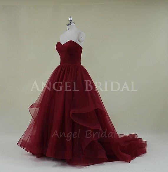 Burgundy Prom DressLong Prom DressTulle Prom by AngelBridal