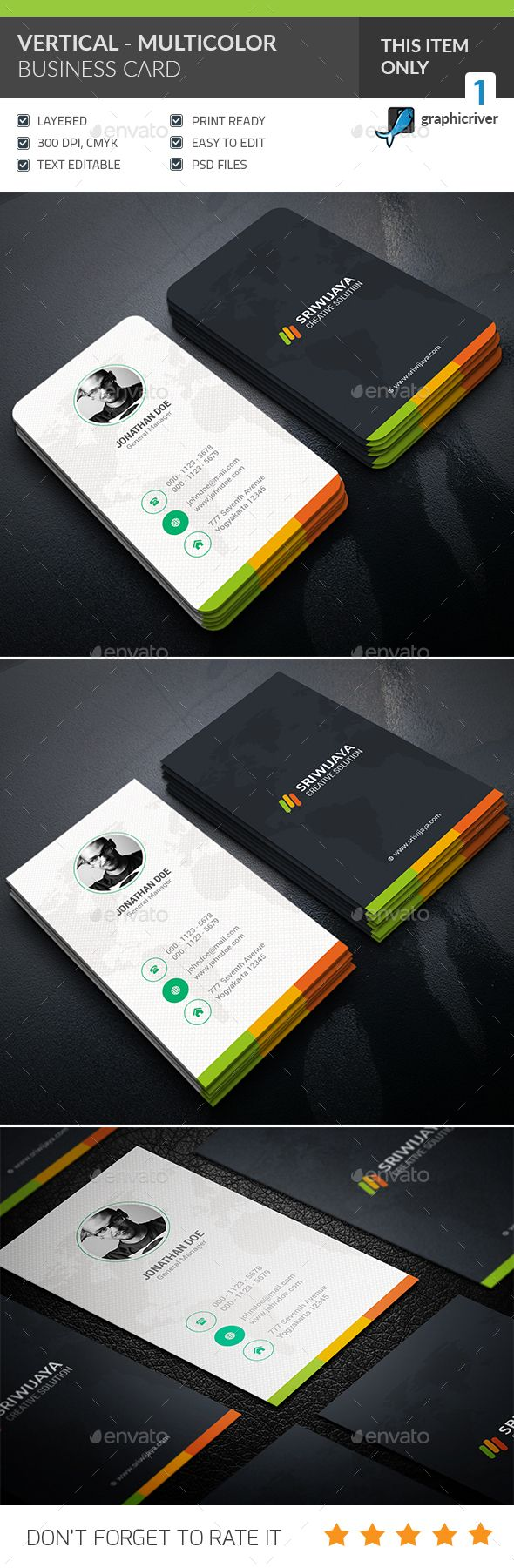 Vertical Multicolor Business card — Photoshop PSD #unique #psd • Available here → https://graphicriver.net/item/vertical-multicolor-business-card-/16228280?ref=pxcr