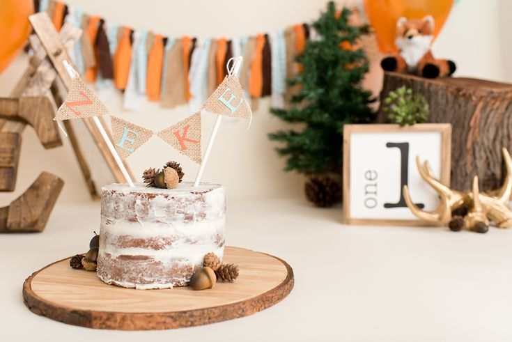 Resources for a Woodland Theme First Birthday Cake Smash or Birthday Party